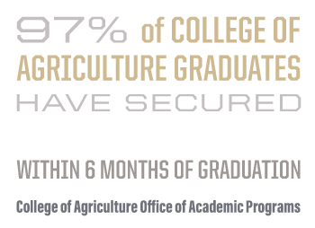 99% of College of Agriculture graduates have secured professional opportunities within six months of graduation