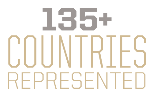 135+ countries represented in our student population