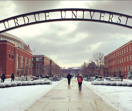 Purdue arch in winter